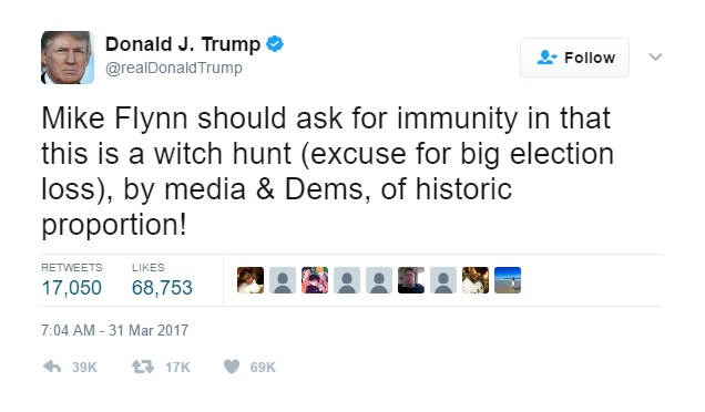 Donald Trump tweets about Michael Flynn.
