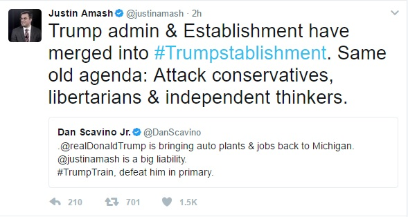 Justin Amash responds to Dan Scavino tweet