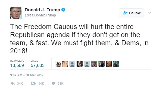 Donald Trump calls for defeat of Freedom Caucus and Democrats.