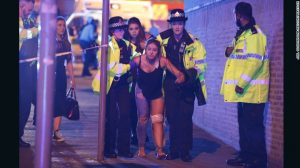 Explosion at Manchester Arena following Ariana Grande concert leaves 22 dead and 59 injured.