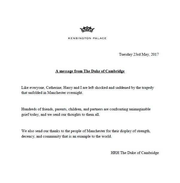 Prince William issues statement regarding last night's Manchester attack.