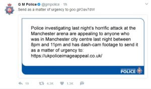 Authorities ask for dashcam footage of last night Manchester Arena attack