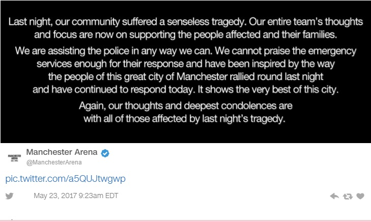 Manchester Arena issues statement after last nights attack leaves 22 dead, 59 injured.